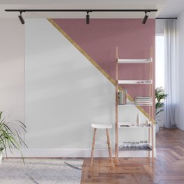 Trendy Glitter Rose Gold and White Triangle Design Wall Mural