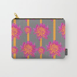 FUCHSIA-ORANGE  CHRYSANTHEMUMS GREY PATTERN Carry-All Pouch