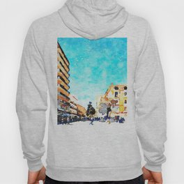 People on the street under the buildings of Agropoli Hoody