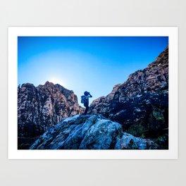 Boys Adventure | Rustic Camping Kid Red Rocks Climbing Explorer Blue Landscape Nursery Photograph Art Print