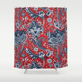 Red White & Blue Floral Paisley Shower Curtain