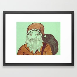Jolly Old Santa Claus, Merry Christmas. Framed Art Print