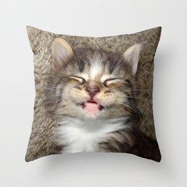 Kitten Smile Throw Pillow