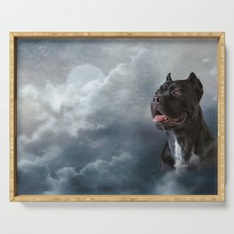 Drawing oil painting dog breed Cane Corso Serving Tray