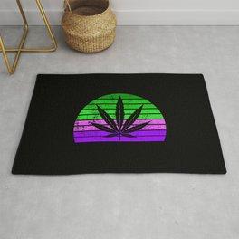 Retro Cannabis Leaf | Smoke Weed 420 Pot Gift Ideas Rug