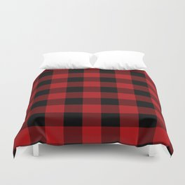 Rustic Buffalo Plaid Red & Black Checkered Square Duvet Cover