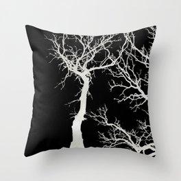White tree branches silhouette #1 Throw Pillow