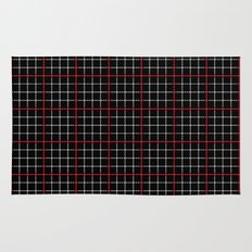 Dotted Grid Weave Black Red Rug