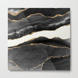 Into the Great Wide Open Black and Gold Agate Metal Print