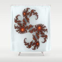 Orange Sunburst Fractal Shower Curtain