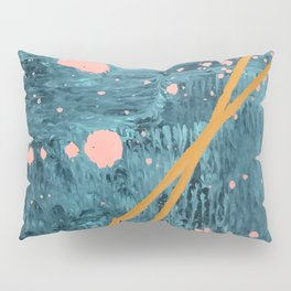 Poseidon [2]: a bright, minimal abstract in blues, pink, orange, and white Pillow Sham