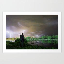 Storm night fisherman Art Print