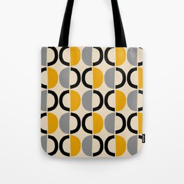 Mid Century Modern Half Circle Pattern 547 Beige Black Gray and Yellow Tote Bag