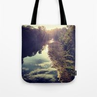 river Tote Bags featuring River by Spencer Martin