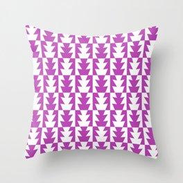 Art Deco Jagged Edge Pattern Magenta Throw Pillow