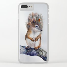Watercolor Baby Squirrel Woodland Animals Nursery Series Clear iPhone Case