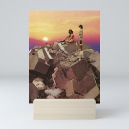Sunset glitchscape Mini Art Print
