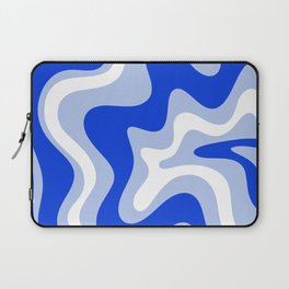 Retro Liquid Swirl Abstract Pattern Royal Blue, Light Blue, and White  Laptop Sleeve