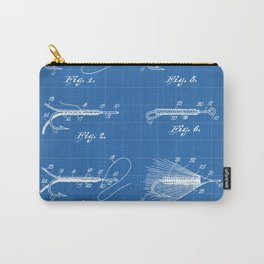 Fly Fishing Patent - Fisherman Art - Blueprint Carry-All Pouch