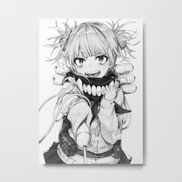 My Hero Academia   Toga Himiko Black White Metal Print
