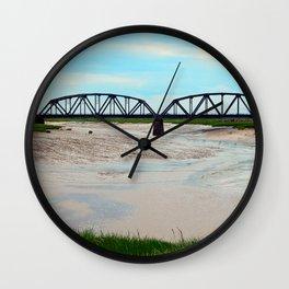 Low Tide at the Sackville Train Bridge Wall Clock