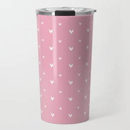 Small sketchy white hearts pattern on pink background Travel Mug