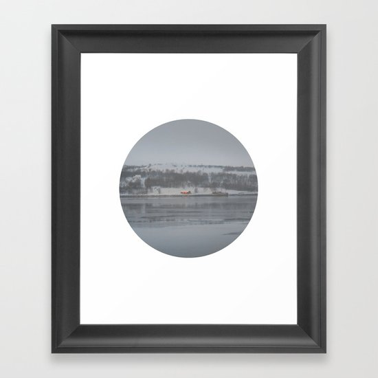 Telescope 6 cabin across the water Framed Art Print