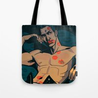 moulin rouge Tote Bags featuring Rouge by Jemma Salume