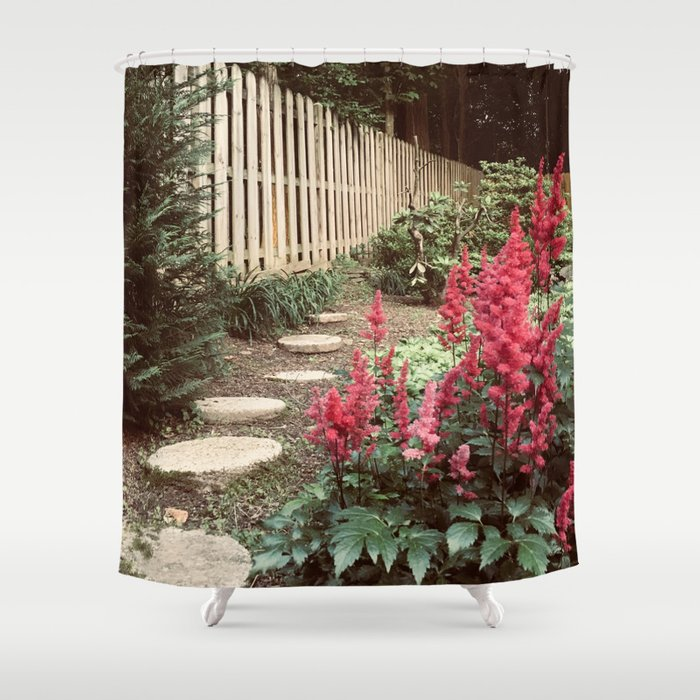 Tall Red Flowers Path Shower Curtain By Michalisstudio