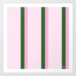 Pink Roses in Anzures 2 Stripes 4V Art Print