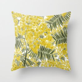 Yellow Mimosa Throw Pillow