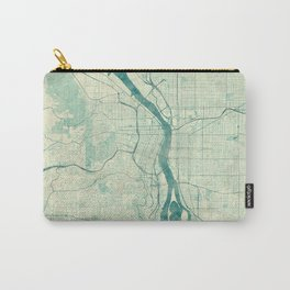 Portland Map Blue Vintage Carry-All Pouch