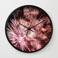 fireworks Wall Clocks featuring Fireworks by For the easily distracted...