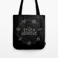 coven Tote Bags featuring The Seven Wonders by Barn Bocock