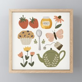 Afternoon Tea in the Garden Pattern Framed Mini Art Print
