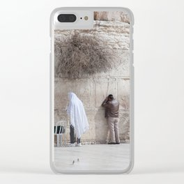 Praying at the Wailing Wall or Western Wall Clear iPhone Case