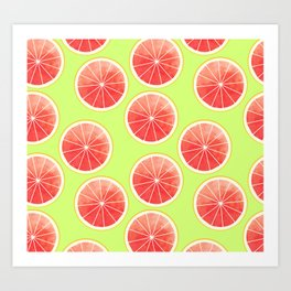 Pink Grapefruit Slices Pattern Art Print