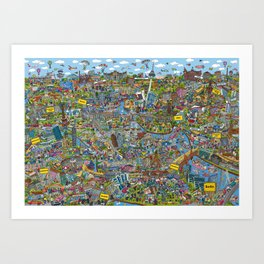 Illustrated map of Berlin Art Print