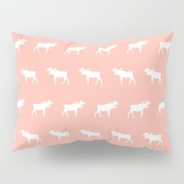 Moose pattern minimal nursery basic peach and white camping cabin chalet decor Pillow Sham