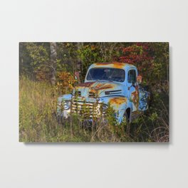 Old Blue Truck Metal Print