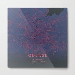 Odense, Denmark - Neon Metal Print