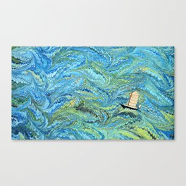 Small Boat on The High Seas Canvas Print