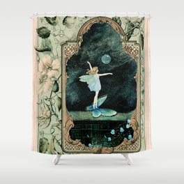 Bubble Romp ~ Altered Ida Rentoul Outhwaite Fairy in Vintage Frame  Shower Curtain