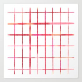 Minimalist grid in pink and red Art Print