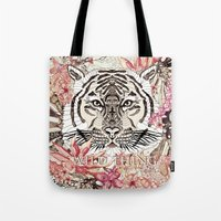 tiger Tote Bags featuring TIGER by Monika Strigel