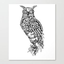 Hand Drawn Steampunk Owl Standing on Branch Canvas Print