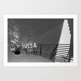 Tulsa Oklahoma Route 66 Neon Googie Style Street Art Sign - Black and White Art Print