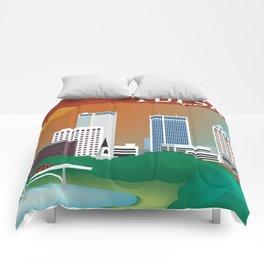 Tulsa, Oklahoma - Skyline Illustration by Loose Petals Comforters