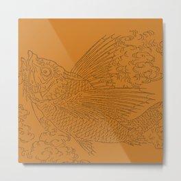 Flying Fish:  Oriental Koi on Golden Orange Metal Print