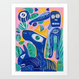 Street Art The Blue King with the Spirits of Jungle Art Print